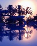 Purper tropisch zonsopganglandschap Royalty-vrije Stock Afbeeldingen