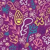Purper welriekend mengsel van gedroogde bloemen en kruiden bloemen naadloos patroon royalty-vrije illustratie