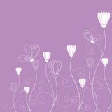 Purper wit bloemen de vlinderbehang van de lente Royalty-vrije Stock Afbeelding