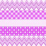 Purper zigzagpatroon, bloemen en kleine harten Royalty-vrije Stock Foto