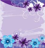 Purpere achtergrond met abstracte bloemen Royalty-vrije Stock Afbeeldingen