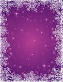 Purpere achtergrond met kader van sneeuwvlokken, vecto Stock Fotografie