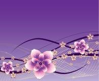 Purpere achtergrond met roze en gouden bloemen Stock Afbeelding