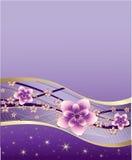 Purpere achtergrond met roze en gouden bloemen Royalty-vrije Stock Afbeeldingen