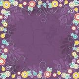 Purpere achtergrond van kleurenbloemen, vector royalty-vrije illustratie