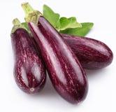 Purpere aubergines met bladeren Stock Foto