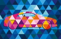 Purpere auto op de blauwe achtergrond Royalty-vrije Stock Afbeeldingen
