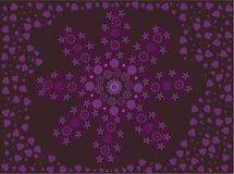 Purpere bloem die van bloemen wordt gemaakt die door bloemblaadjes worden omringd vector illustratie