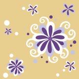 Purpere bloem met gele achtergrond Royalty-vrije Stock Afbeeldingen