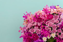 Purpere bloemdecoratie tegen lichtblauwe muur Royalty-vrije Stock Fotografie