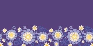 Purpere bloemen en bladeren horizontale naadloos Stock Afbeeldingen