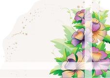Purpere bloemen met bladeren en twee stroken Stock Afbeelding