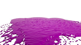purpere dalingen die op witte oppervlakte langzame motie vallen Gekleurde verf stock footage