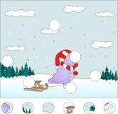 Purpere draak met slee in het de winterbos: voltooi het raadsel Stock Fotografie