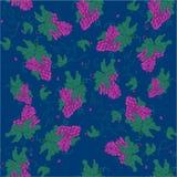 Purpere Druivenillustratie - Bos van purpere druiven met stam en blad op groene achtergrond vector illustratie