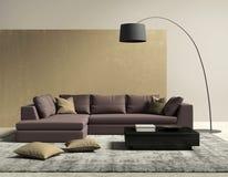 Purpere en gouden eigentijdse moderne woonkamer Stock Afbeelding