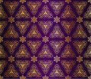 Purpere en gouden naadloze arabesque Stock Afbeelding