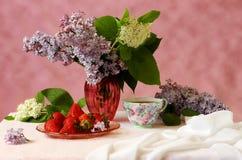 Purpere en witte seringen, thee en aardbeienstilleven Royalty-vrije Stock Afbeeldingen