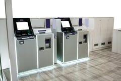 Purpere en zilveren ATM-machinespost met LEIDEN licht  Royalty-vrije Stock Afbeelding