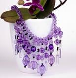Purpere gekleurde geparelde halsband Stock Afbeeldingen