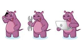 Purpere Hippo-Mascottevector met laptop Stock Afbeeldingen