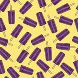 Purpere ijslollys op geel naadloos patroon als achtergrond met overzichten Royalty-vrije Stock Afbeelding