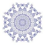 Purpere lijn bloemen Indische mandala Stock Illustratie