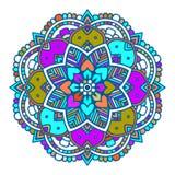 Purpere lijn bloemen Indische mandala Vector Illustratie