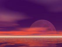 Purpere Moonrise Stock Afbeeldingen