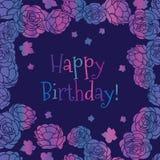 Purpere roze nam vector de groetkaart van de tuin ditsy bloemen Gelukkige Verjaardag toe vector illustratie