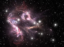 Purpere ruimtesternevel Stock Fotografie