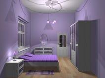 Purpere slaapkamer Royalty-vrije Stock Afbeeldingen