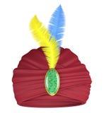 Purpere tulband met veren Stock Afbeelding