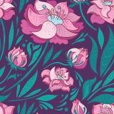 Purpere Vectorachtergrond met Roze Bloemen Royalty-vrije Stock Foto