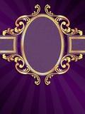 Purpere verticale banner met gouden filigraan Royalty-vrije Stock Foto