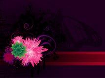 Purpere vlinder en bloemen   Stock Afbeelding