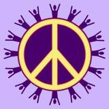 Purpere Vreedzame Mensen Stock Foto