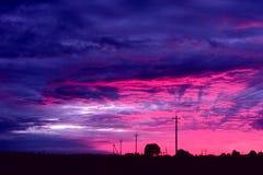 Purpere Zonsondergang stock afbeeldingen