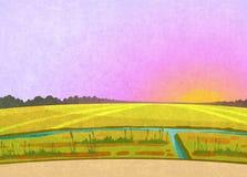 Purpere zonsondergang op de gebieden vector illustratie