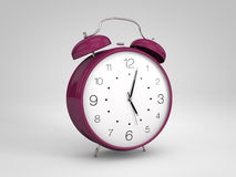 Purple 3d alarm clock Royalty Free Stock Image