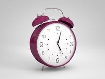 Purple 3d alarm clock. 3d render of a purple alarm clock Royalty Free Stock Image