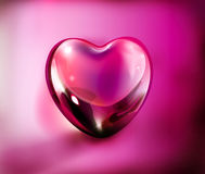 Purple 3d love heart. Three dimensional illustration of glassy purple love heart on studio background Stock Photography