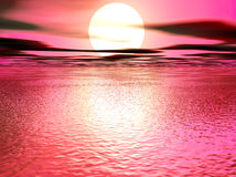 Purple 3d sunset Royalty Free Stock Photo