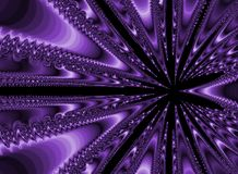 Purple Abstract. A monochromatic, geometric purple fractal offset from center Stock Photos