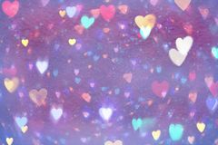 Purple abstract background with colorful hearts. Valentine`s day background Royalty Free Stock Photos
