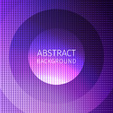 Purple abstract background of many squares with superimposed. Circles and an inscription stock illustration