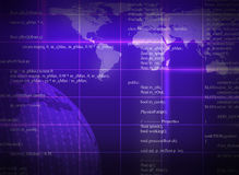 Purple abstract background with world map Stock Photography