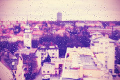 Purple abstract blurred urban background Stock Images