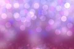 Purple abstract bokeh. Purple and blue gradient glowing background with bright blurred circles and glittering stars. Beautiful. Texture royalty free illustration