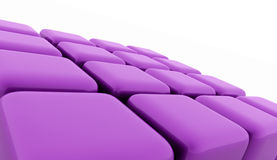 Purple abstract cubes background rendered. On white Stock Illustration